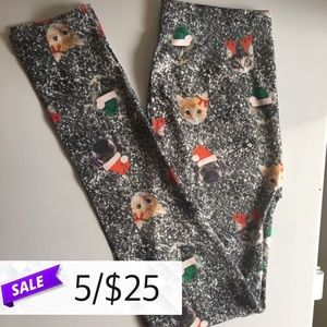 Pants - Christmas Cat Pug Leggings Small